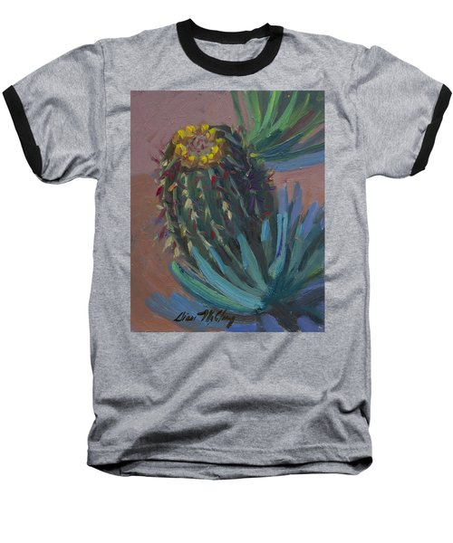 Barrel Cactus In Bloom - Boyce Thompson Arboretum Baseball T-Shirt by Diane McClary