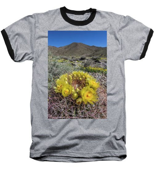 Baseball T-Shirt featuring the photograph Barrel Cactus Super Bloom by Peter Tellone