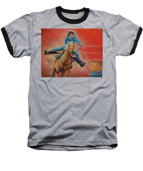 Barrel Racing Baseball T-Shirt by Jeanette French