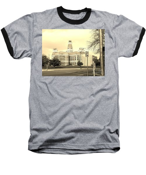 Bartholomew County Courthouse Columbus Indiana - Sepia Baseball T-Shirt