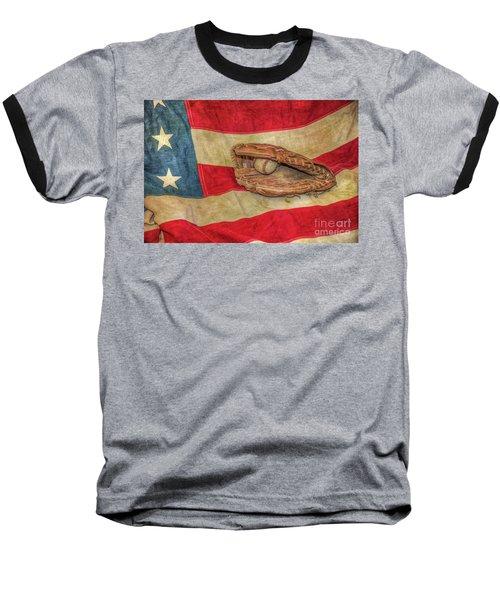Baseball Glove And Ball On Us Flag Baseball T-Shirt