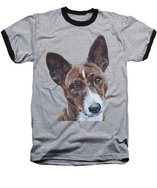 Basenji Dog Painting Baseball T-Shirt