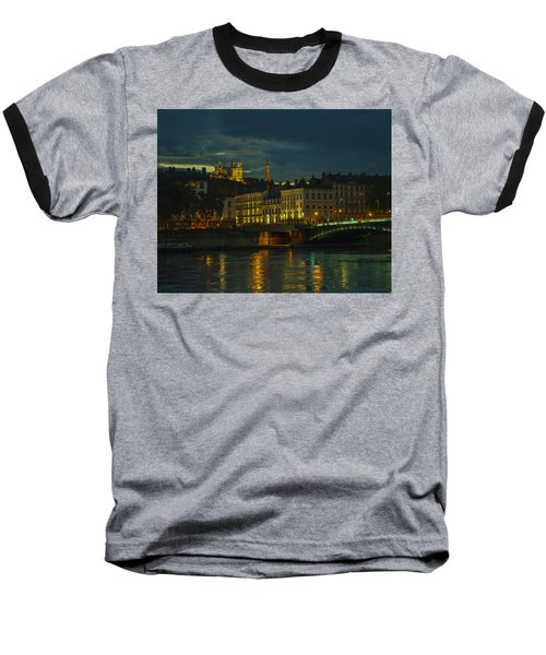 Baseball T-Shirt featuring the photograph Basilica Notre Dame De Fourviere From Across The Rhone River by Allen Sheffield