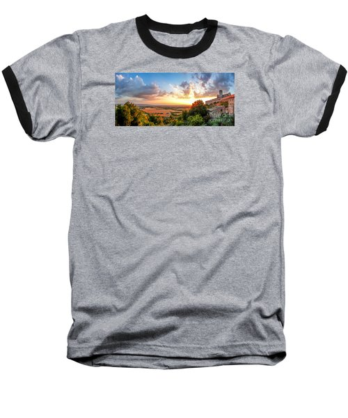 Basilica Of St. Francis Of Assisi At Sunset, Umbria, Italy Baseball T-Shirt