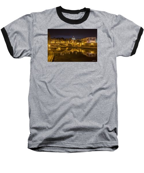 Basilica Over The River Tiber Baseball T-Shirt by Ed Cilley