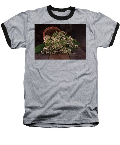 Baseball T-Shirt featuring the photograph Basket Of Fresh Lily Of The Valley Flowers by Jaroslaw Blaminsky