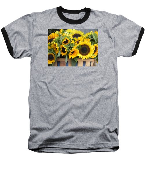 Basket Of Sunflowers Baseball T-Shirt by Chrisann Ellis