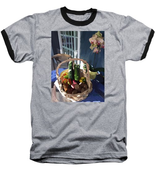 Basket Of Veggies And Orchid Baseball T-Shirt