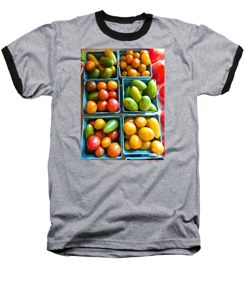 Baskets Of Baby Tomatoes Baseball T-Shirt by Dee Flouton