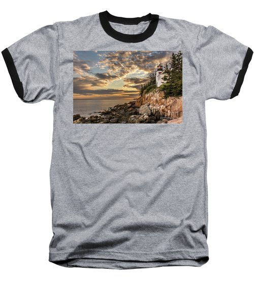 Bass Harbor Head Lighthouse Sunset Baseball T-Shirt