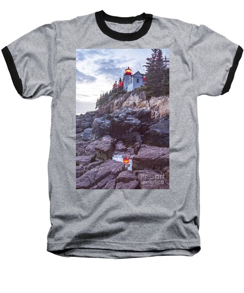 Bass Harbor Light Reflection Baseball T-Shirt