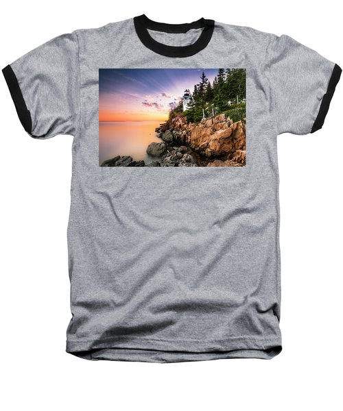 Bass Harbor Lighthouse Sunset Baseball T-Shirt