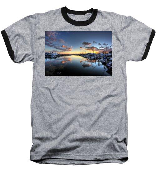 Bass Harbor Sunset Baseball T-Shirt by John Loreaux