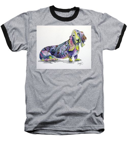 Baseball T-Shirt featuring the painting Basset Hound Horace by Patricia Lintner