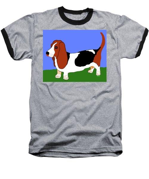 Cartoon Basset Hound In The Yard Baseball T-Shirt