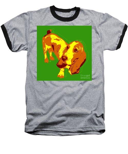 Baseball T-Shirt featuring the digital art Basset Hound Pop Art by Jean luc Comperat