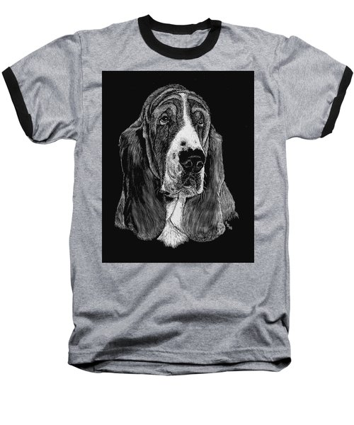 Baseball T-Shirt featuring the drawing Basset Hound by Rachel Hames