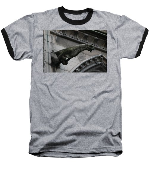 Bat Eared Dog Gargoyle Of Notre Dame Baseball T-Shirt