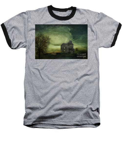 Baseball T-Shirt featuring the mixed media Bates Residence by Jim  Hatch