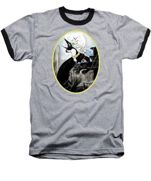 Batman Boston Terrier Caricature Art Print Baseball T-Shirt