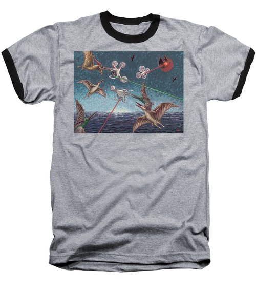 Battle Of Pterosaurs And Drones Baseball T-Shirt