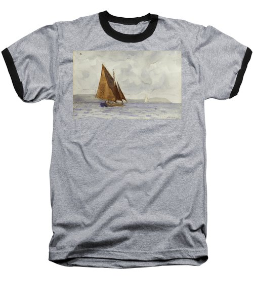 Baseball T-Shirt featuring the painting Bawley Running Up The Coast by Henry Scott Tuke