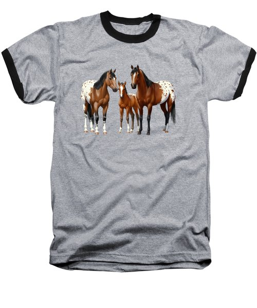 Bay Appaloosa Horses In Winter Pasture Baseball T-Shirt by Crista Forest