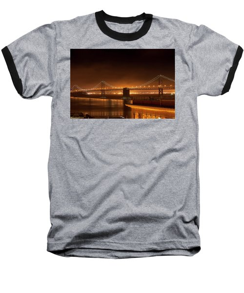 Bay Bridge At Night Baseball T-Shirt