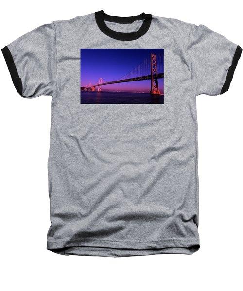 Bay Bridge Sunset Baseball T-Shirt by Linda Edgecomb