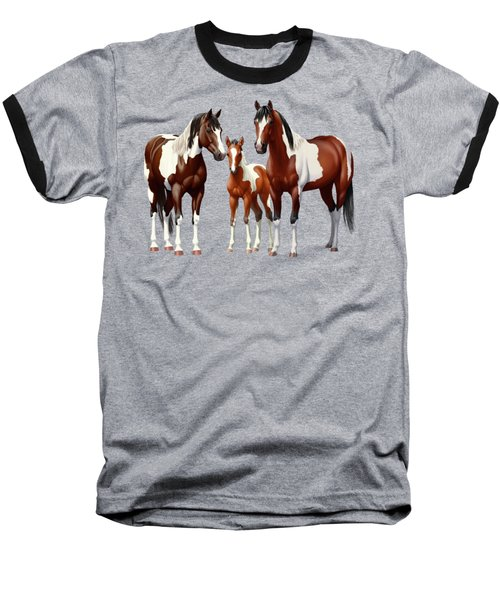 Bay Paint Horses In Winter Baseball T-Shirt