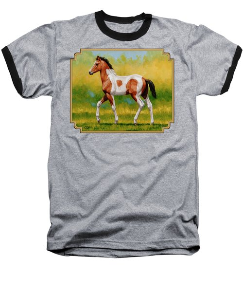 Bay Pinto Foal Baseball T-Shirt