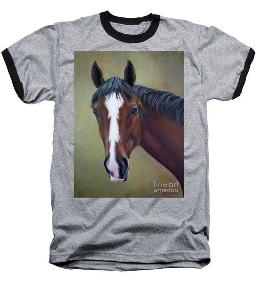 Bay Thoroughbred Horse Portrait Ottb Baseball T-Shirt