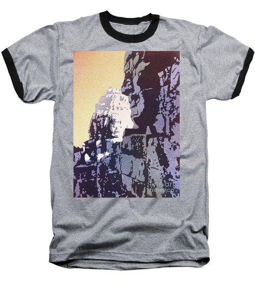 Baseball T-Shirt featuring the painting Bayon Temple- Angkor Wat, Cambodia by Ryan Fox