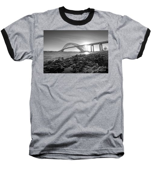 Bayonne Bridge Black And White Baseball T-Shirt by Michael Ver Sprill