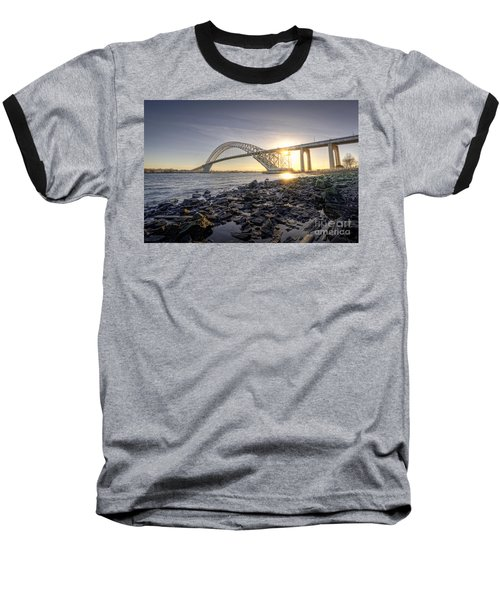 Bayonne Bridge Sunset Baseball T-Shirt