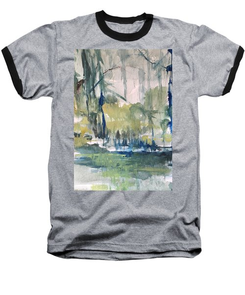 Bayou Blues Abstract Baseball T-Shirt by Robin Miller-Bookhout