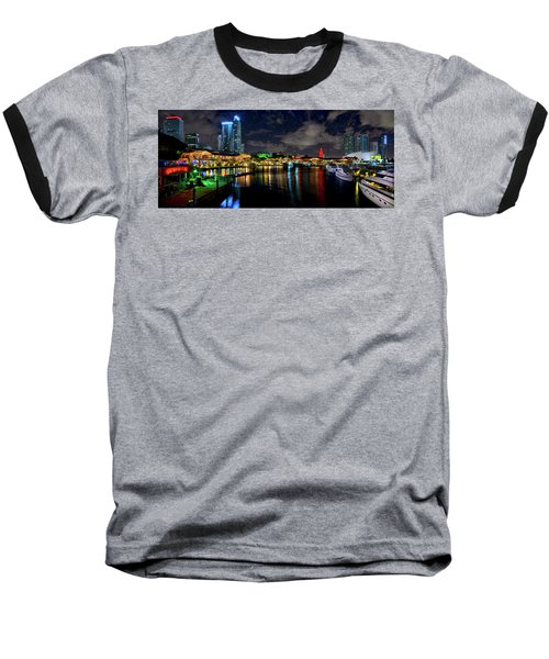 Bayside Miami Florida At Night Under The Stars Baseball T-Shirt by Justin Kelefas
