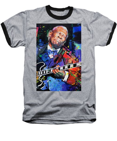 Bb King Portrait Baseball T-Shirt by Richard Day