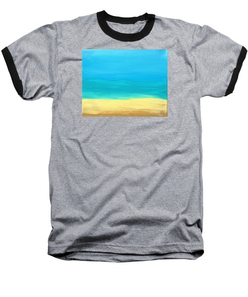 Beach Abstract Baseball T-Shirt by D Hackett