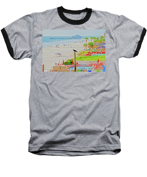 Beach Bird On A Pole Baseball T-Shirt