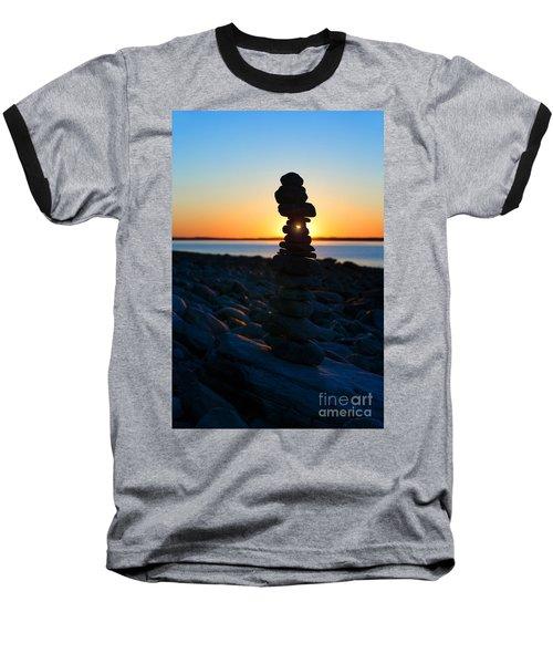Beach Cairn At Sunrise Baseball T-Shirt by Diane Diederich