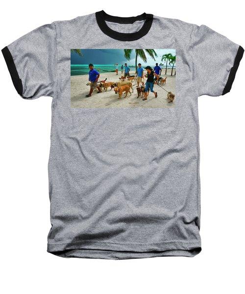 Beach Dog Walkers On Ambergris Caye, Belize Baseball T-Shirt
