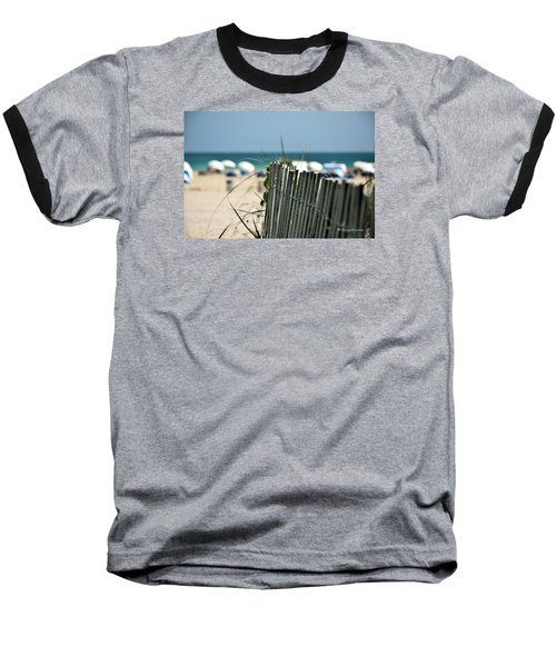 Beach Fence Baseball T-Shirt by Edgar Torres