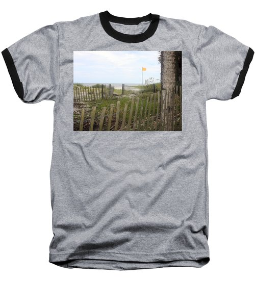 Beach Fence On Hunting Island Baseball T-Shirt by Ellen Tully