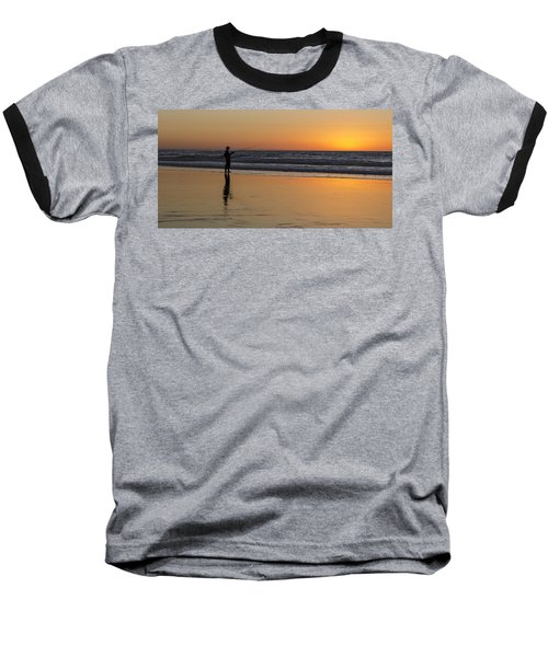 Beach Fishing At Sunset Baseball T-Shirt