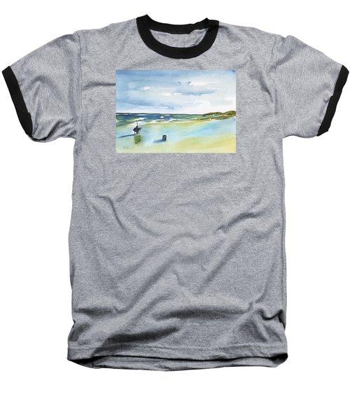 Beach Fishing Baseball T-Shirt by Frank Bright