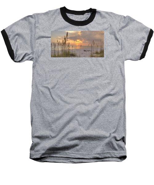Beach Grass Sunset Baseball T-Shirt by Sean Allen