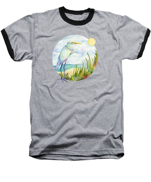 Beach Heron Baseball T-Shirt by Amy Kirkpatrick
