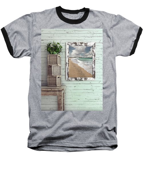 Baseball T-Shirt featuring the photograph Beach House By Kaye Menner by Kaye Menner