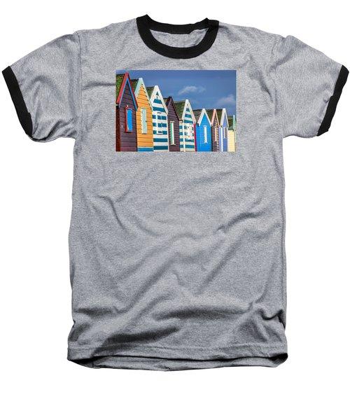 Beach Huts Baseball T-Shirt by David Warrington